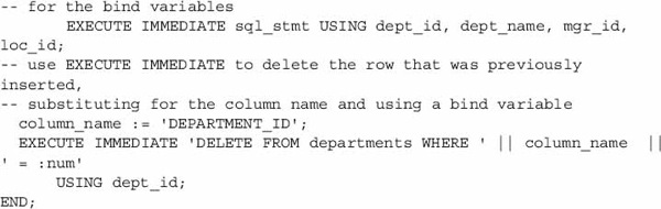 oracle execute immediate insert into variable