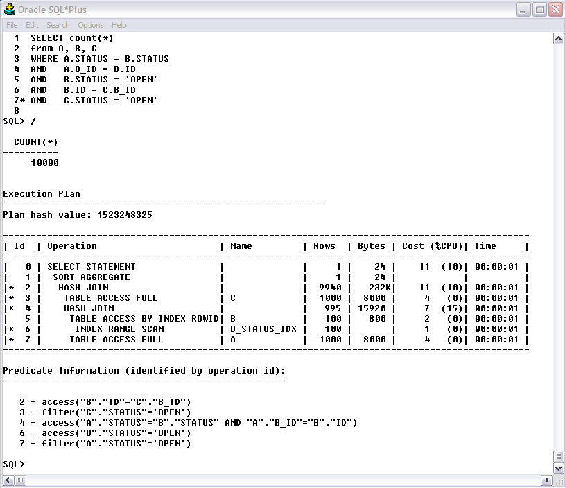 Example SQL for Oracle Explain Plan