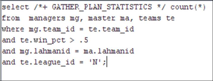 Syntax to show actual execution