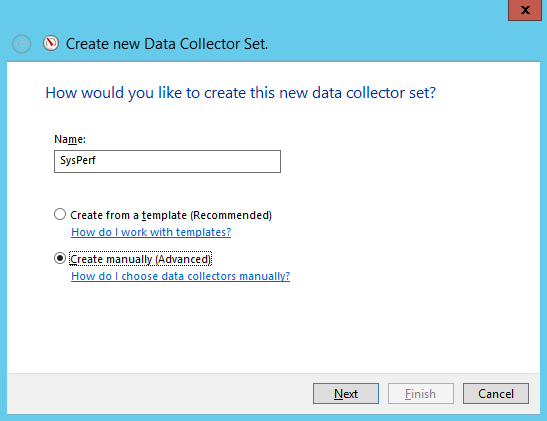 Create new data collector set Otey