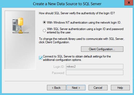 Select Windows authentication Otey