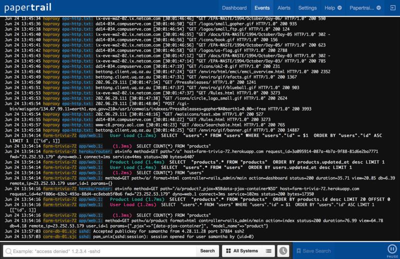 Alt Text: Docker Logging Tool—Papertrail