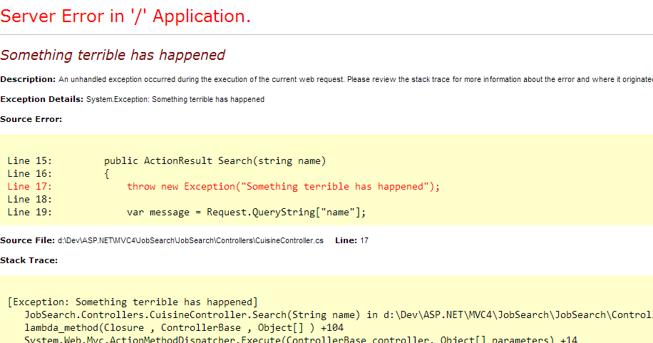 Server Error in ASP.net—C# Logging